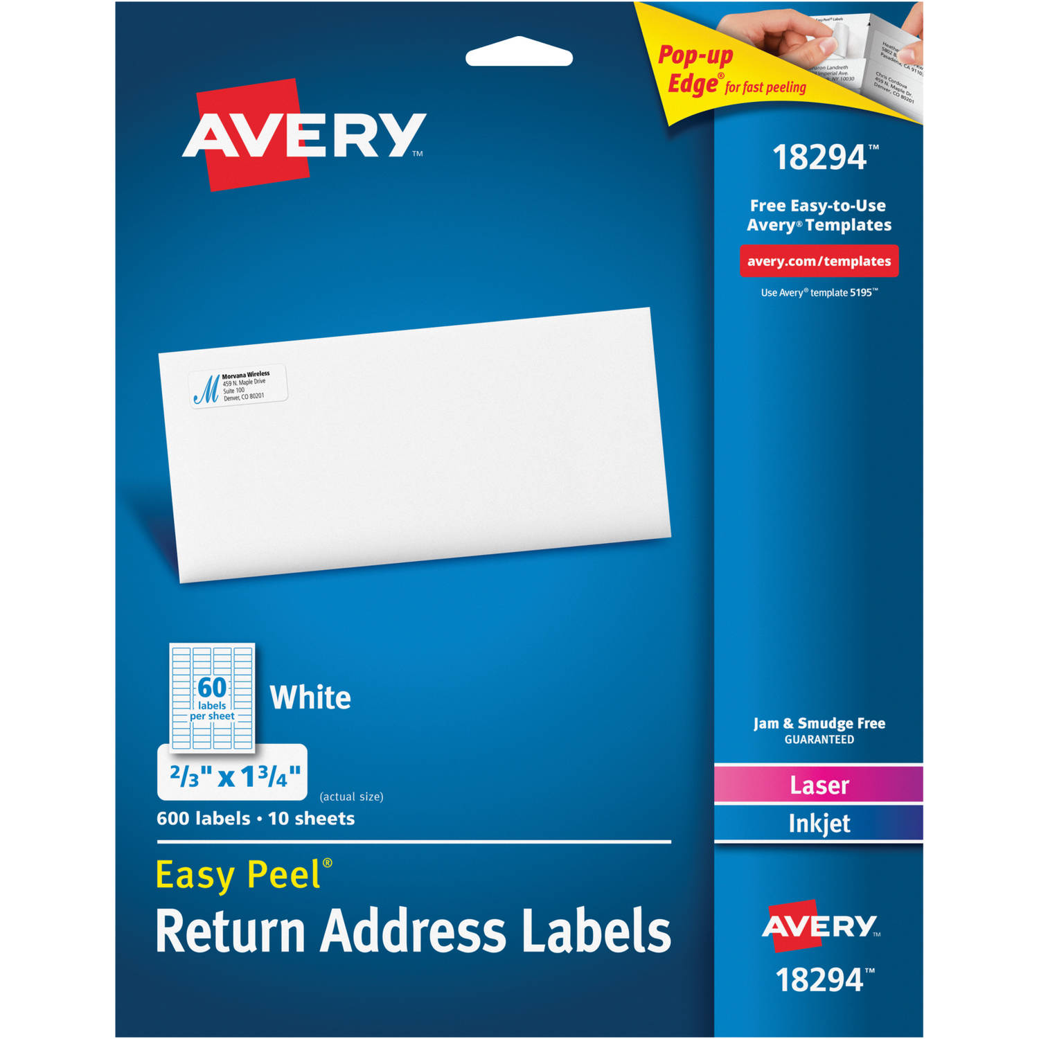8195 template - Avery Easy Peel White Return Address Labels 18294 2 3 X 1 3 4 Laser Inkjet 600pk Walmart Com