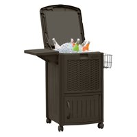 Suncast 77 qt. Resin Wicker Outdoor Cooler Station® Patio Cooler, Java Brown