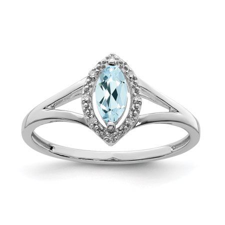 925 Sterling Silver Diamond Blue Aquamarine Marquise Band Ring Size 6.00 Gemstone Gifts For Women For Her