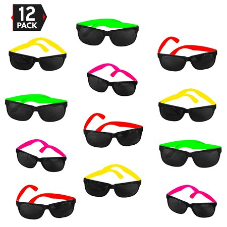 12 Pack 80's Style Neon Party Sunglasses - Fun Gift, Party Favors, Party Toys, Goody Bag Favors - Kids Sunglasses Party Favors
