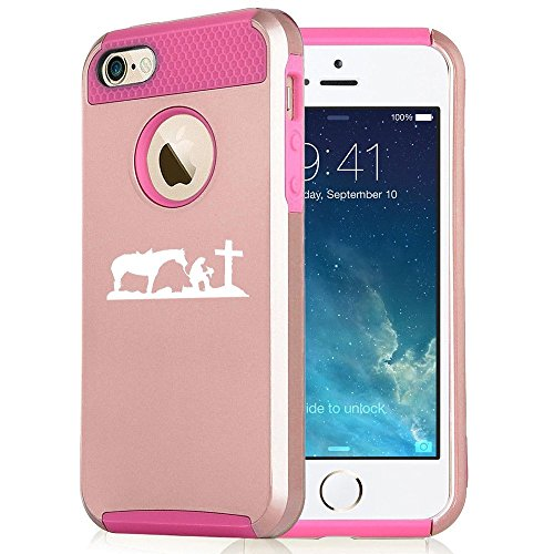 Apple iPhone 6 Plus / 6s Plus Rose Gold Shockproof Impact Hard Case Cover Cowgirl Praying Cross Horse (Rose Gold / Hot Pink),MIP