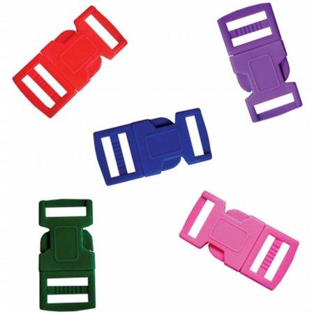 Parachute Cord Bracelet Buckles 15mm 5/Pkg-Assorted Colors - Parachute Bracelets