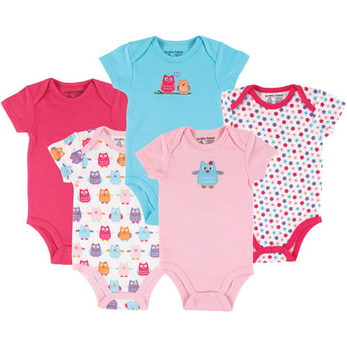 Luvable Friends Newborn Baby Girls Bodysuit 5-Pack Owl