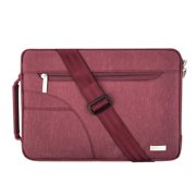 Polyester Fabric Sleeve Case Cover Laptop Shoulder Briefcase Bag for 13-13.3 Inch MacBook Pro, MacBook Air, Ultrabook Netbook Tablet, Wine Red