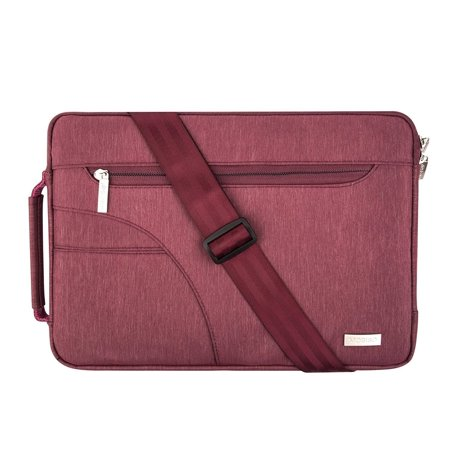 Polyester Fabric Sleeve Case Cover Laptop Shoulder Briefcase Bag for 13-13.3 Inch MacBook Pro, MacBook Air, Ultrabook Netbook Tablet, Wine Red ()