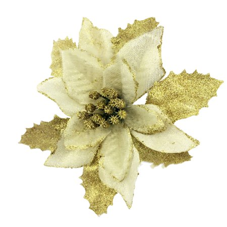 Christmas Tree Decorations Artificial Flowers Xmas 15cm Poinsettia Glitter Flower Wedding Ornament Decor (Snowy Poinsettia)