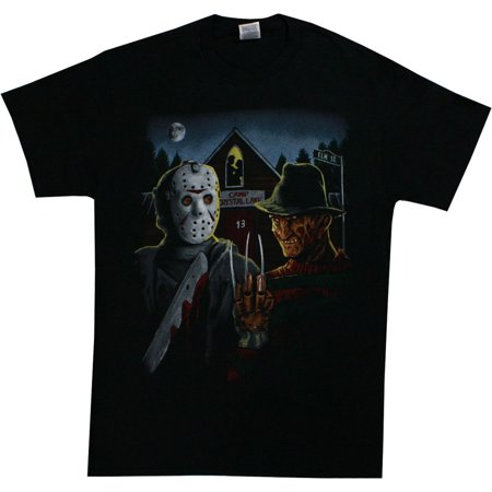 Freddy Krueger And Jason Men's American Gothic Parody T-Shirt Black - Is Freddy Krueger Real