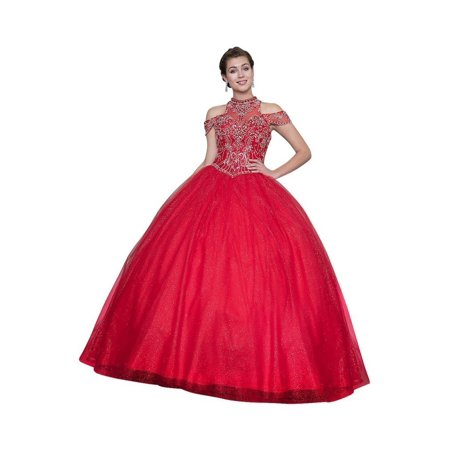 Calla Collection Womens Red Halter Neck Quinceanera Ball Dress