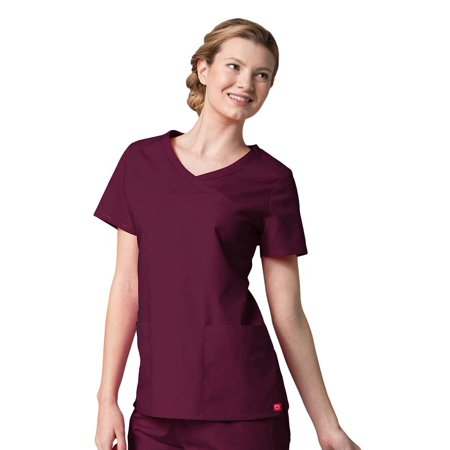 Red Panda Women's Curved Mock Wrap Solid Scrub (Rose Mock Wrap Top)