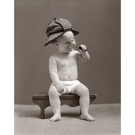 45fb3491c3f0a 1940s Baby Sherlock Holmes In Diaper Sitting On Bench Wearing Deer Stalker  Hat Looking Through Magnifying Glass Stretched Canvas - Vintage Images ...