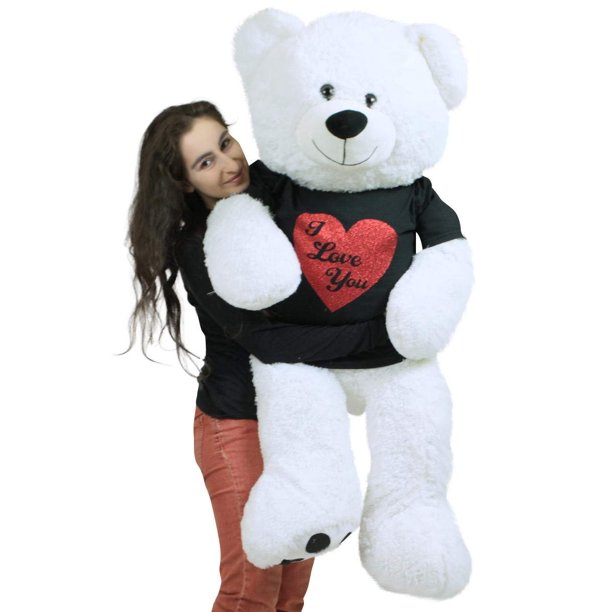 Baby Net For Stuffed Animals, Very Big Valentine White Teddy Bear Wears Removable Black And Red Glitter T Shirt I Love You Soft 52 Inches Walmart Com Walmart Com