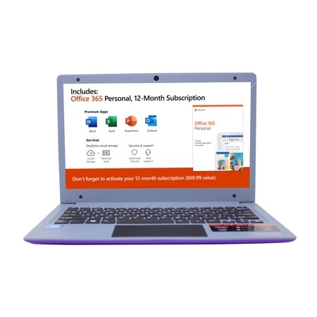 "EVOO 11.6"" Ultra Thin Laptop, FHD, Dual Core, 4GB Memory, 32GB Storage, Mini HDMI, Front Camera, Windows 10 Home, Purple"