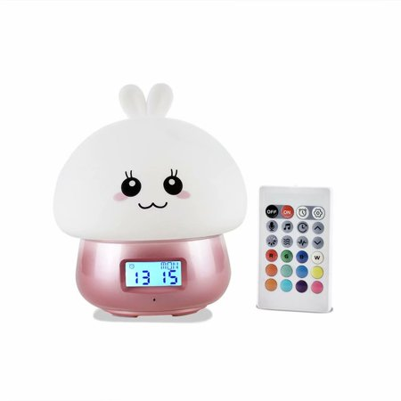 Nursery Night Lights for Kids Children,USB Alarm Clock for Kids,Silicone Baby Night Light with Touch Sensor and Remote ,Recording Smart Alarm (Baby Nursery Wall Clock)
