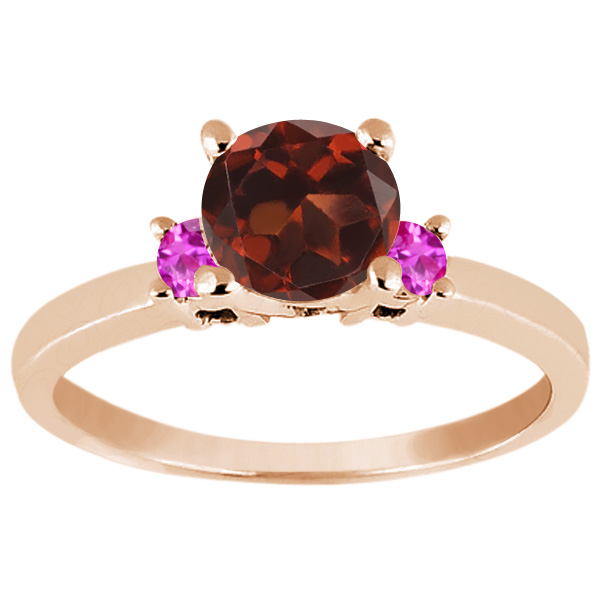 1.16 Ct Round Red Garnet Pink Sapphire 14K Rose Gold Engagement Ring by