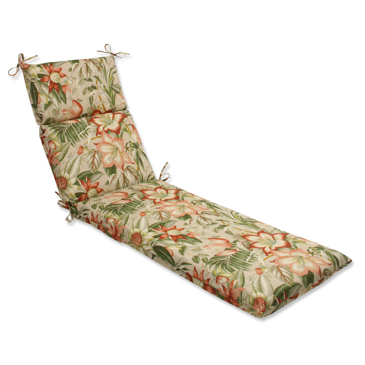 "72.5"" Green, Tan and Coral Tropical Garden Decorative Outdoor Patio Chaise Lounge Cushion"