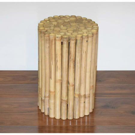 Bamboo54 Rustic 12-in. Round Bamboo Side Table (Wood Round Side Table)