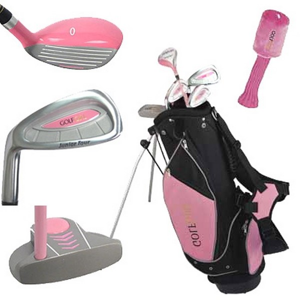 Golf Girl LEFTY Junior Club Youth Set for Kids Ages 8-12 w/Pink Stand Bag