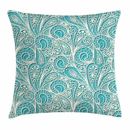 Teal and White Throw Pillow Cushion Cover, White Lace Style Pattern Feminine Fashion Romantic Composition Print, Decorative Square Accent Pillow Case, 16 X 16 Inches, Turquoise White, by Ambesonne