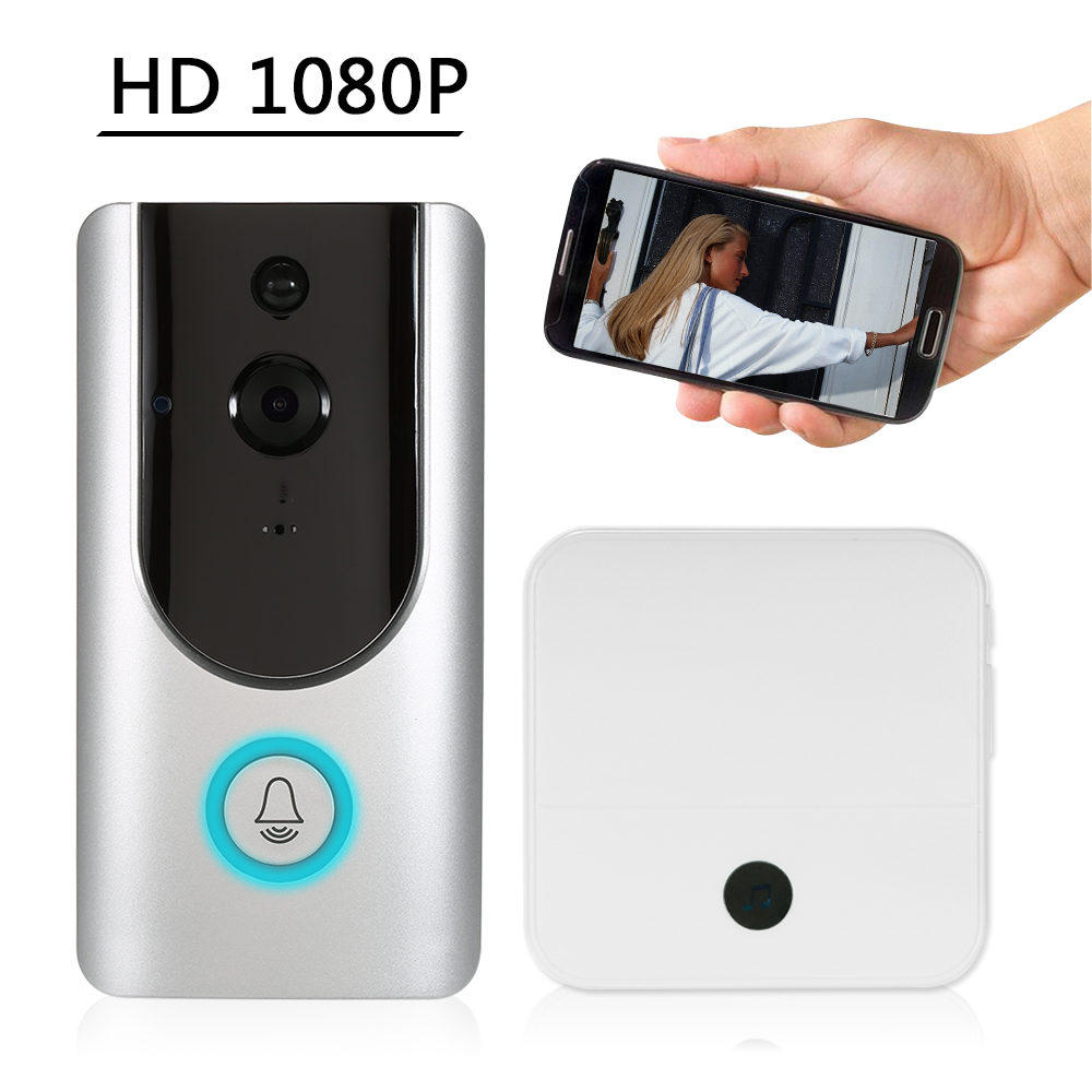 HD 1080P WiFi Smart Wireless Security Doorbell Smart Visual Intercom Recording Video Door Phone Night Vision Mobile Cruise Remote Monitoring for Home/Factory +1*Wireless Doorbell Chime