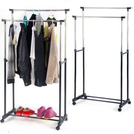 Double Slant Hanger - Ktaxon Rolling Portable Adjustable Clothes Rack Double Bar Rail Hanging Garment Hanger