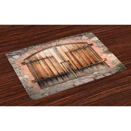 Rustic Placemats Set of 4 Wooden Door of a Stone House with Wrought Iron Elements Tuscany Architecture Photo, Washable Fabric Place Mats for Dining Room Kitchen Table Decor,Brown Grey, by -