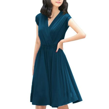 Women's Cinched Waist Cross V Neck Dress Blue (Size L / (Cinched Waist Jersey Dress)