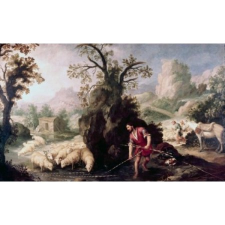 Allegory-Jacob Laying The Peeled Rods Bartolome Esteban Murillo Oil On Canvas Poster Print (Jacobsen Rod)
