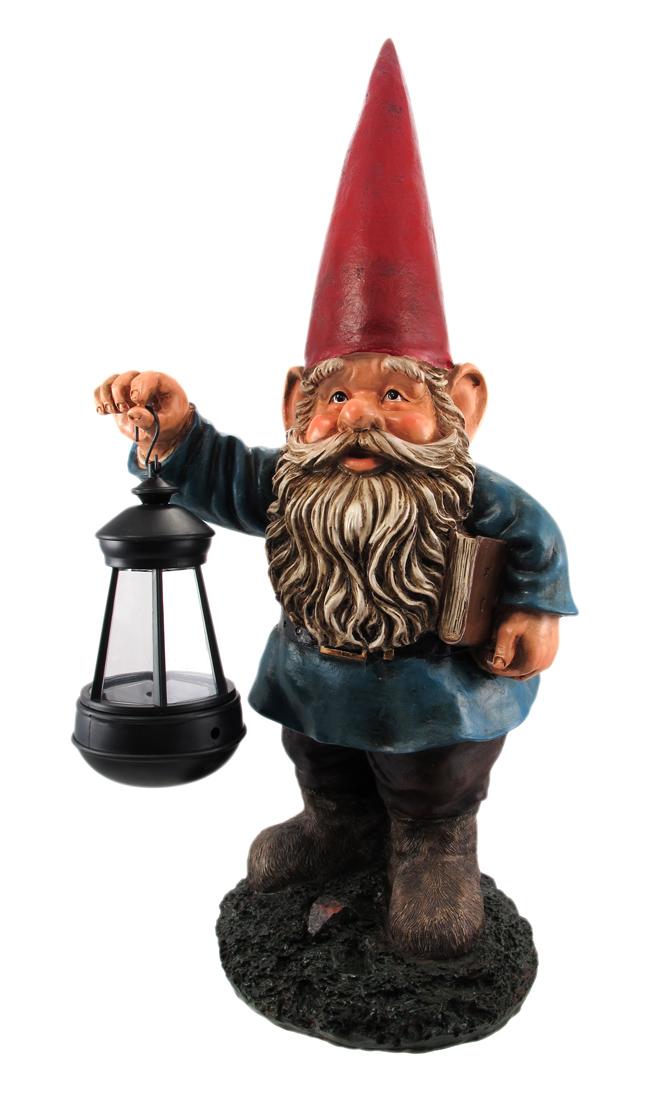 Garden Gnome Holding Lantern Statue by DWK Corporation