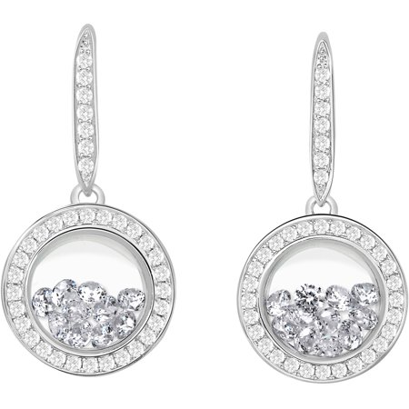 Designer Wood Earrings - Chetan Collection Floating White CZ Sterling Silver Designer Earrings