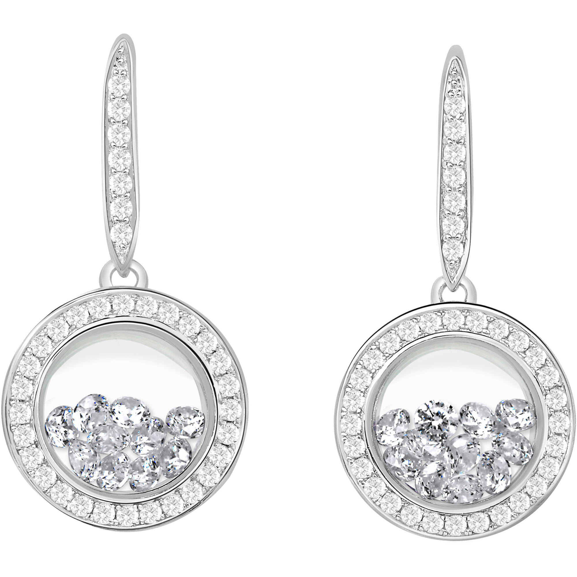 Chetan Collection Floating White CZ Sterling Silver Designer Earrings