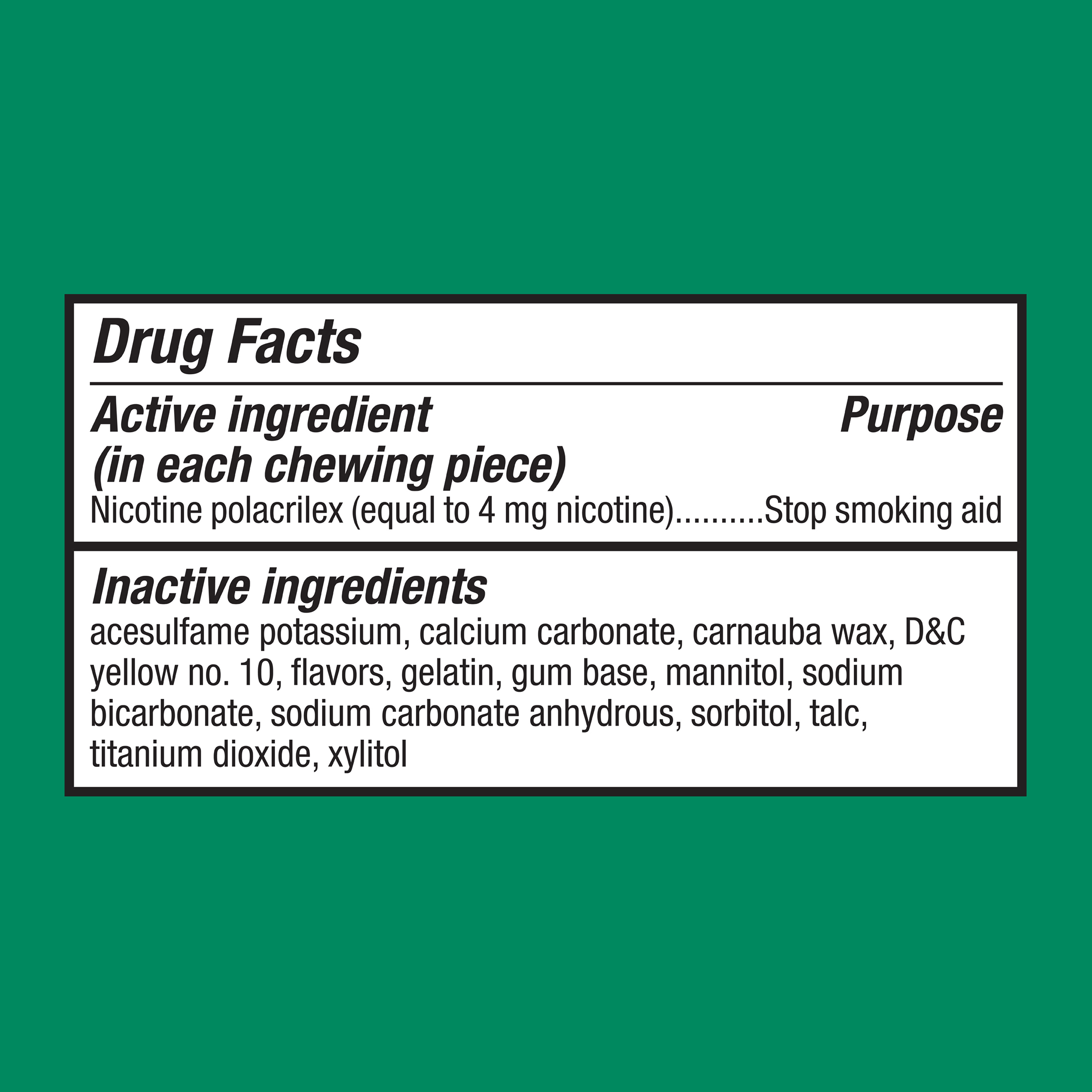 Equate Coated Nicotine Gum, Cool Mint Flavor, 4 mg, 20 Count