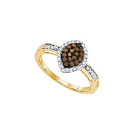 Orange Brown Bands (Size - 7 - Solid 10k Yellow Gold Round Chocolate Brown And White Diamond Engagement Ring OR Fashion Band Channel Set Marquise Shaped Halo Ring (1/3 cttw))