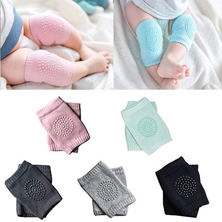 5 pairs Unisex Baby Infant Toddler Knee pads for Crawling Soft Elastic Knee Elbow Brace pads Cap Anti-slip Crawling Safety Protector Cushion Leg Sleeve