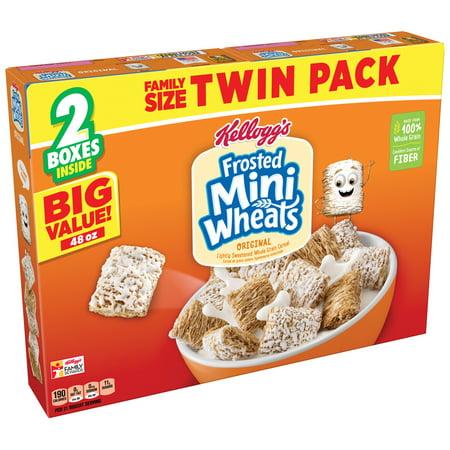 Halloween Breakfast Food Ideas ((2 Pack) Kellogg's Twin Pack Frosted Mini Wheats Breakfast Cereal, 48)