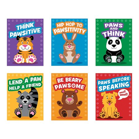 Fun Express - Paws For Good Character Poster - Educational - Classroom Decorations - Classroom Decor - 6 Pieces (Winter Decorations For Classroom)