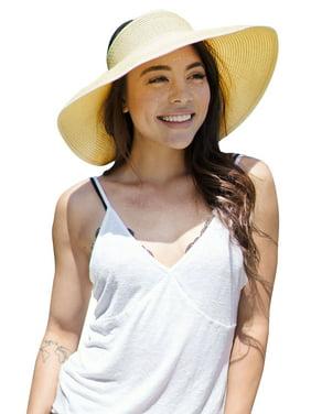 Simplicity Womens Sun Hat Foldable Straw Sun Visor Beige