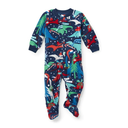 Long Sleeve Christmas Dino Footed Blanket Sleeper (Baby Boys & Toddler Boys) - Dinosaur Onesie