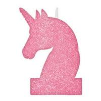 Pink Glitter Unicorn Party Birthday Candle - 1pc