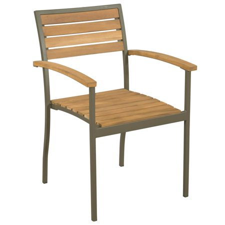 Magnificent Stackable Outdoor Chairs 2 Pcs Solid Acacia Wood And Steel Machost Co Dining Chair Design Ideas Machostcouk