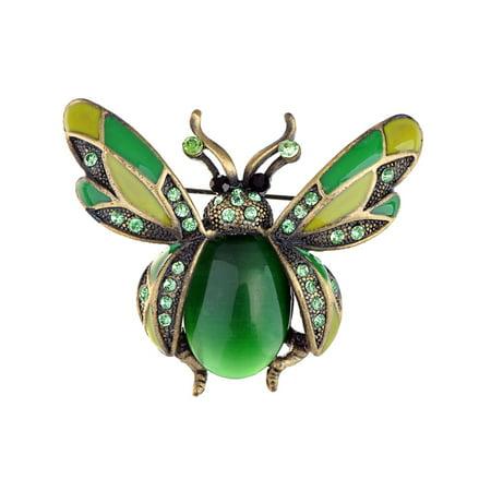 - Peridot Green Crystal Rhinestone Ladybug Fly Insect Fashion Jewelry Brooch Pin