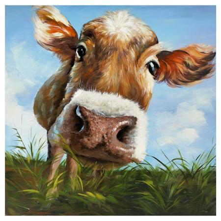 Cow Decor - ArtMaison Canada Cow in Field Wall Art