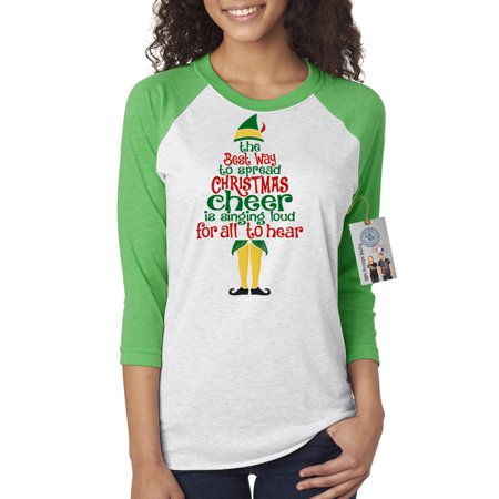 Christmas Clothes For Women (Elf Spread Christmas Cheer Womens 3/4 Raglan Sleeve T-Shirt)