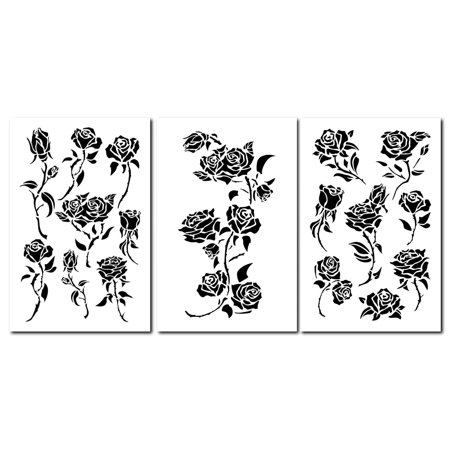 14 Rose Painting Stencils Wall Model Craft Decorating Roses Airbrush Flower Template 3 Pack