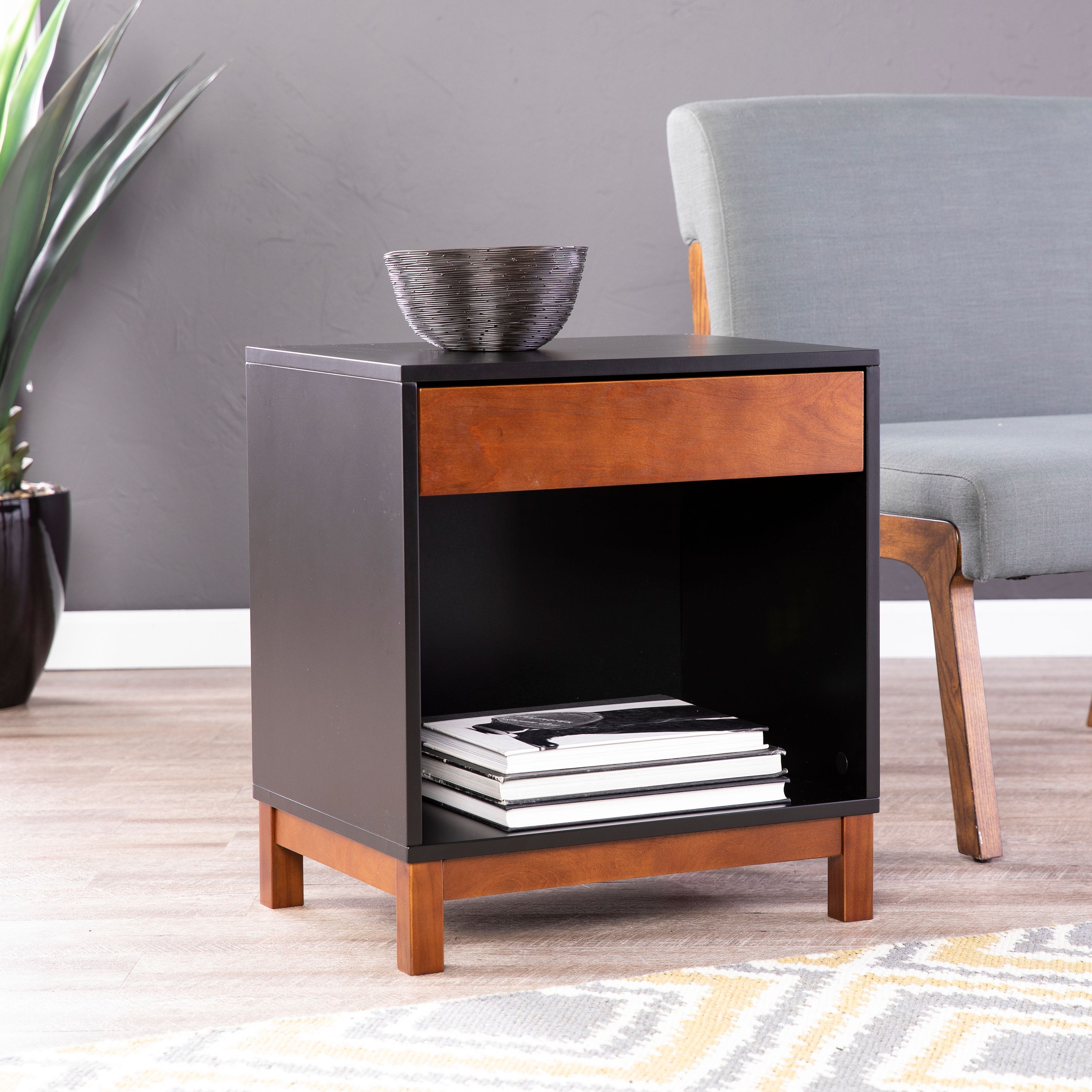Holly & Martin Conlin Accent Table w/ Storage, Midcentury Modern, Black