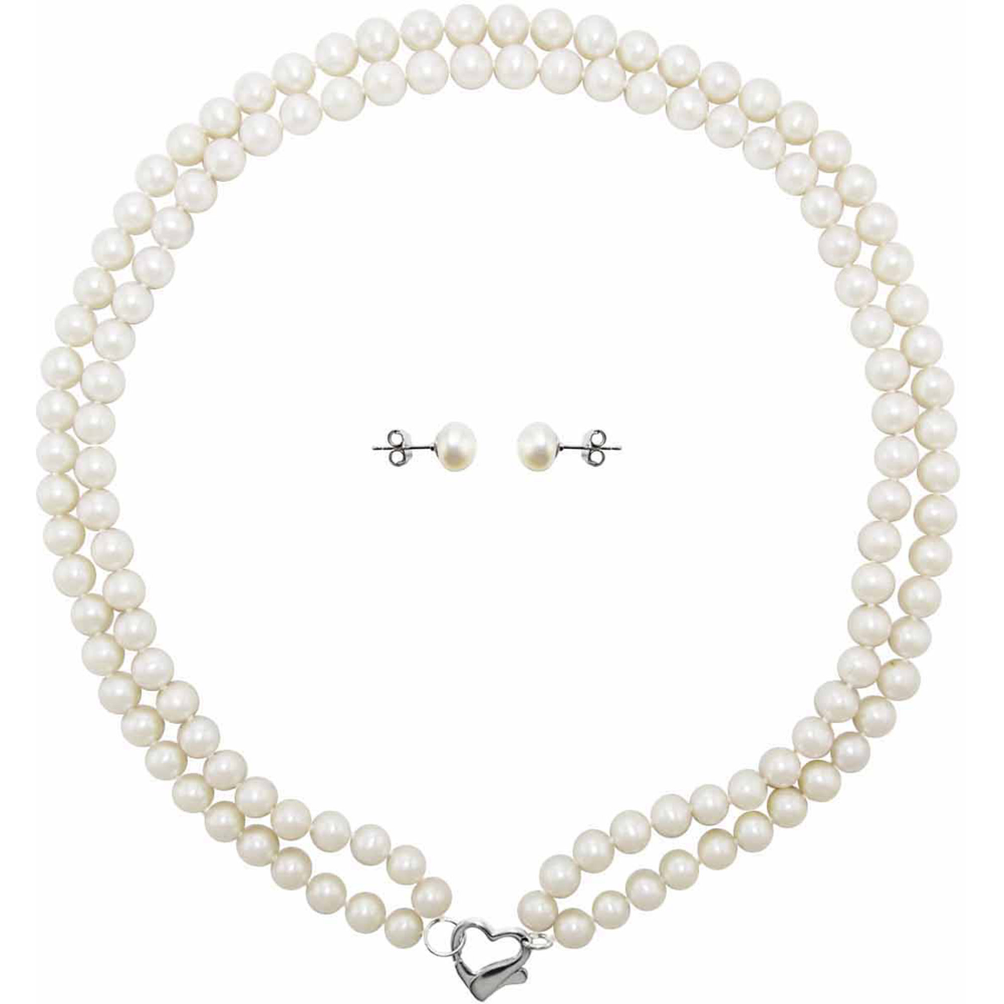 "Image of Double Row 6-7mm White Freshwater Pearl Heart-Shape Sterling Silver Clasp Necklace (18"") with Bonus Pearl Stud Earrings"