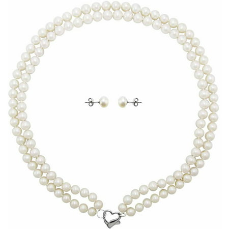 ADDURN Double Row 6-7mm White Freshwater Pearl Heart-Shape Sterling Silver Clasp Necklace (18