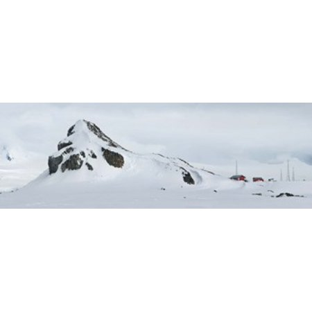 Snow Covered Mountain Half Moon Island Canvas Art   Panoramic Images  36 X 13