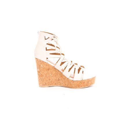 Soho Shoes Women's Corset Lace Up Platform Wedges - Toms Beige Wedges