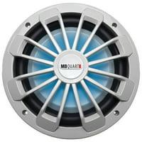 Nautic Series Marine-Certified 600 watt Shallow Subwoofer with LED Illumination, White - 10 in.