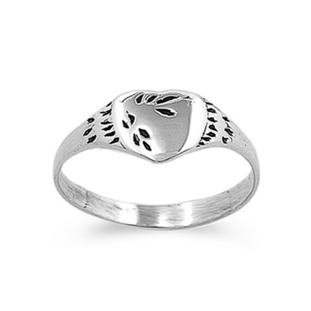 Sterling Silver Baby Ring ( Sizes 1 2 3 4 5 ) Simple Heart Solid 925 New 4mm Rings by Sac Silver (Size 4)